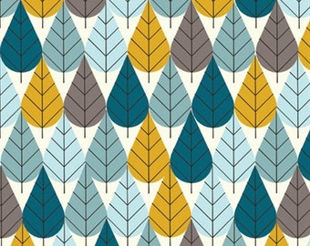 Knit Birch Charley Harper Octoberama Blue Cotton Interlock