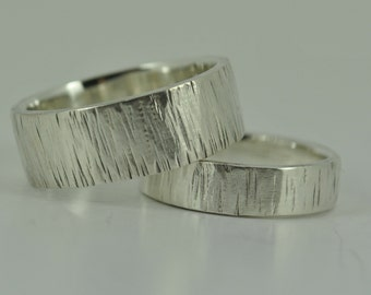 Personalised Bark Sterling Silver Mens Womens Ladies Wedding Ring Band Set UK Tree Bark Ring Wedding band Rustic Wood Grain Ring Engagement