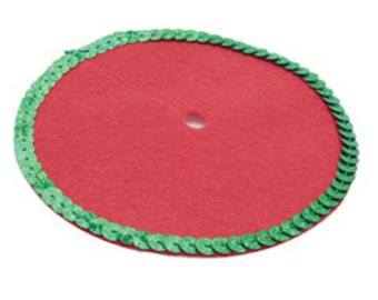 Christmas tree skirt dollhouse miniature made from red felt with green sequin trim.