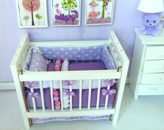 crib or baby bed white any color you want bed clothes dollhouse miniature 1/12 scale