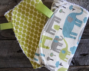 Chenille Burp Cloths-Gender Neutral-Set of Two-Trunk Tales and Lotus Full Moon Polka Dot Lime