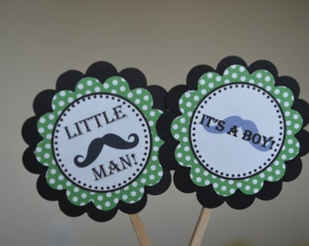 Mustache Bash Little Man Cupcake Toppers - Green Polka Dots - It's a Boy Cupcake Toppers - Mustache Baby Shower - Set of 12
