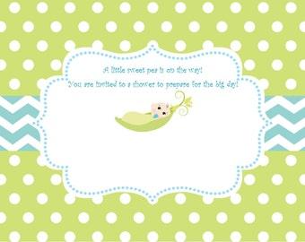 Sweet Pea Invitation - Baby Boy Invitation - Baby Shower Invitation - Available in ANY theme