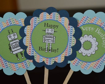 Robot Cupcake Toppers - Robot Party - Robot Birthday - Robots -  Set of 12