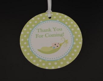 Sweet Pea Favor Tags - Baby Shower Favor Tags - Sweet Peas - Two Peas in a Pod - Green and Blue- Set of 12