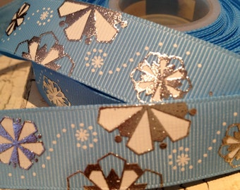 "3 yards 7/8"" Christmas Light WInter BLUE Metallic SNOWFLAKE Grosgrain Ribbon sold by the yard"