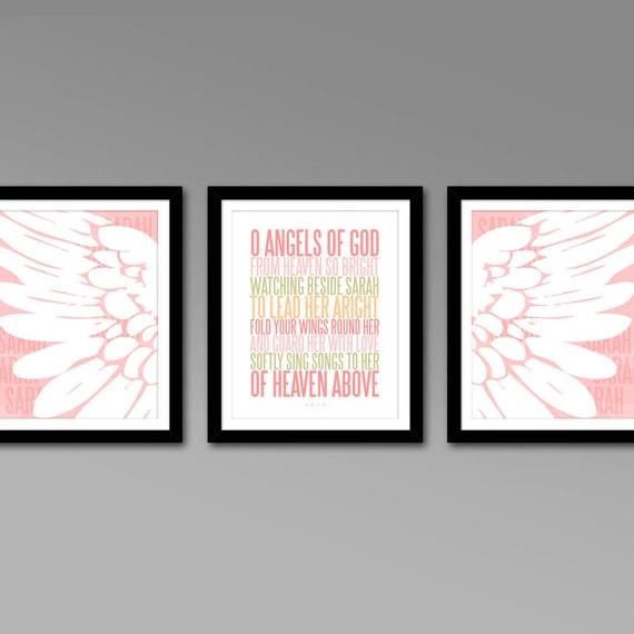 Personalized Protection Prayer Nursery Art Triptych – Set of 3 – Printable Digital Files – Modern Baby Girl Nursery Decor – Baby Shower Gift