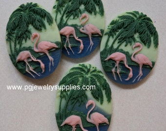 18mm x 13mm vertical oval multi colored pink flamingos resin cameos 4 pcs lot l
