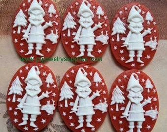25mm x 18mm Santa's elves Christmas holiday oval resin cameos white on red 6 pcs l