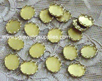 10mm x 8mm oval brass closed back lace edge cup settings connector settings 18 pcs lot l