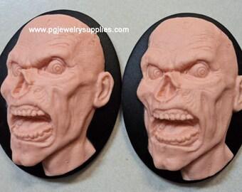 40mm x 30mm zombie monster head resin cameos pink black 2 pcs lot l