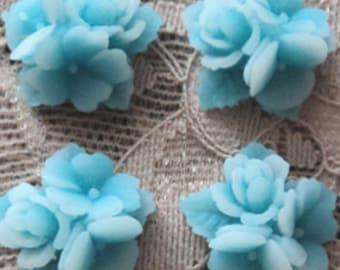 16mm blue matte  2 tone color resin flower cluster cabochon 4 pcs lot l