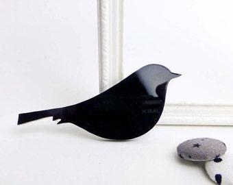 Bird brooch | Black perspex jewellery | Woodland animal accessories | Modern statement jewellery
