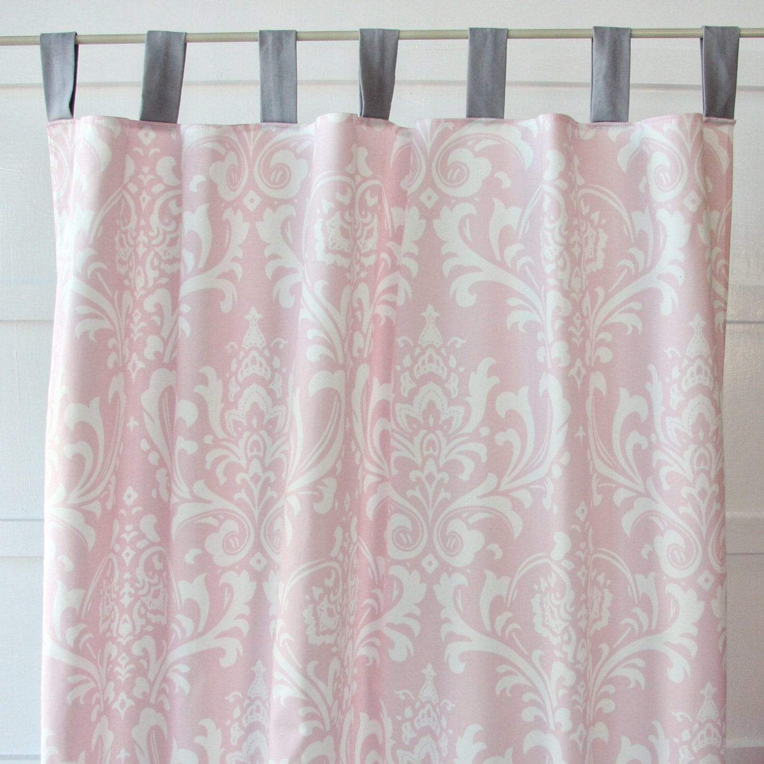 sweet lace damask pink and gray curtain by cadenlanebabybedding. Black Bedroom Furniture Sets. Home Design Ideas