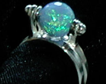 Sterling Silver Interchangeable Ring with Opal Bead