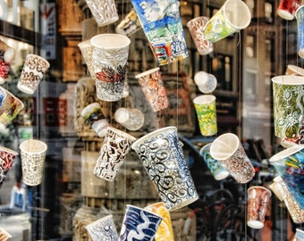 Paper Cups in the Flatiron II, Abstract Flatiron Reflection