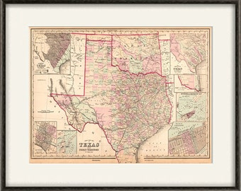 texas state map print map vintage old maps antique prints texas home decor texas wall decor texas wall art texas state