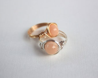 Peach Jade Wire Wrapped Ring