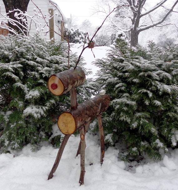 Wooden firewood reindeer holiday decorations christmas - Renne de noel en bois ...