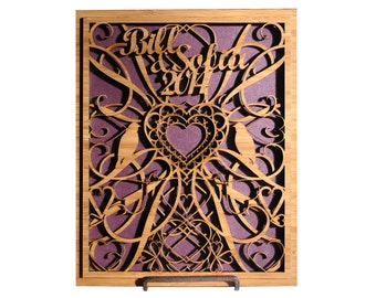 Intricate Laser Cut Wood Personalized Valentine's or Wedding Gift Plaque Sign, Hearts, Birds, Your Names, Rustic and Modern