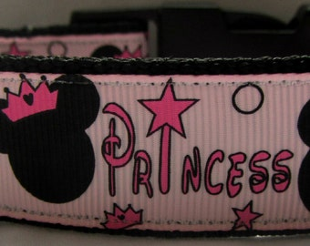 Disney pink Minnie mouse dog collar