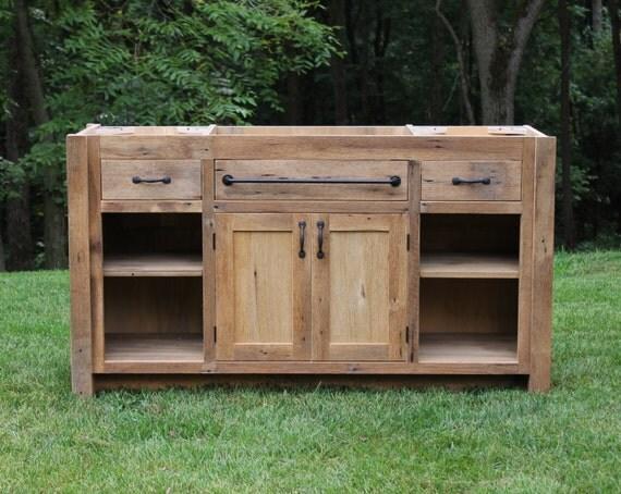 Rustic vanity 60 reclaimed barn wood vanity for 48 inch barn door