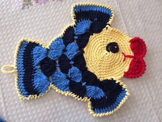 Free Crochet Fish Potholder Pattern : Fish Crochet Potholder Placemat Funny Fish by Viktoriyasshop
