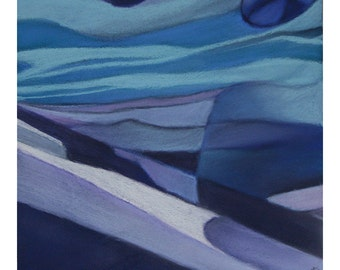 Blue Abstract Landscape- Pastel Drawing on Paper- 9x9- Blue, Turquoise, Purple- Small Wall Decor