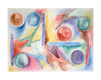 Watercolor Circles Painting- Abstract Watercolor- Overcoming-  Colorful Painting| 11x15- Primary Colors- Gymnastics, Dancers