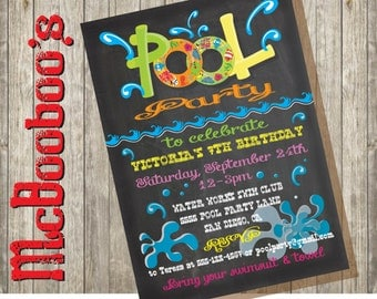 Chalkboard Birthday Pool Party Invitation