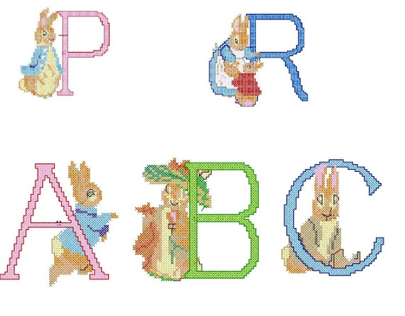 Peter Rabbit Alphabet Embroidery Designs - PES