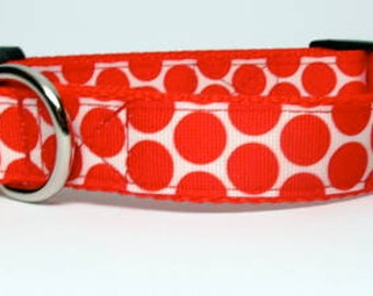 Red and White Polka Dot Medium, Large or Extra Large Adjustable Quick Release  Dog Collar