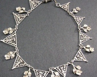 Vintage Silver Filigree Necklace/Choker