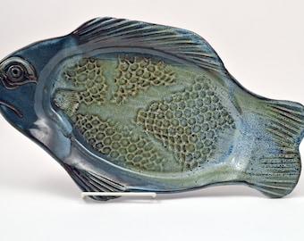 Large Blue Fish Platter