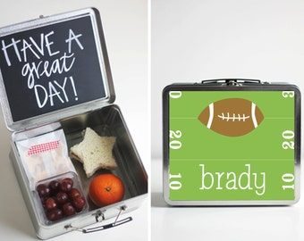 Football Tin Lunch Box with Chalkboard inside