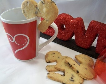 GLUTEN FREE Cherry Almond Heart Cookies For Your Cup - 1/2dz