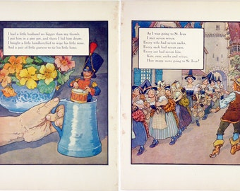 Vintage 1915 Mother Goose Rhymes Print Wall Art by Frederick Richardson Full Color Lithograph I Had A Little Husband Childrens Illustration