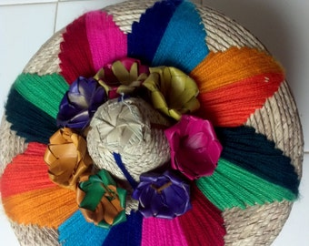 "Hand Woven Tortilla Warmers/ Embroidered Handmade Tortilleros/ Shower Gifts/ Party Centerpiece, bread basket, jewlery box,diameter 7"""