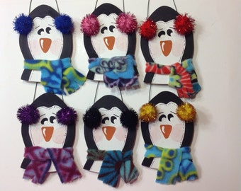 Personalized Wooden Penguin Scarf Earmuffs Winter Tree Ornament - Your Name - Christmas Holiday - Hand Painted