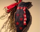 Wooden Crow, Primitive Crow, Wooden Crow Ornament, Rusty Wire Ornament, Primitive, FAAP,OFG team