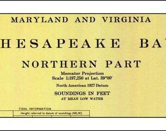 Chesapeake Bay Nautical Chart, Nautical Chart, Chesapeake Bay, Maryland Map, Virginia Map, Sailing Map, Sailing Art, Nautical Print 1927