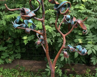 Ribbon Tree - Metal Sculpture Forged with Blacksmithing Techniques - Leaves Blowing in the Wind - Copper Bronze Brass Patina - Organic Forms