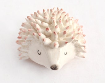 Ceramic Miniature Hedgehog Shaped in White Clay and Decorated with Pigments in Pink. Ready To Ship