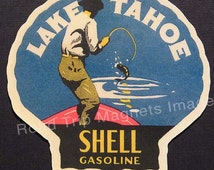 Shell Gasoline 1920s Travel Decal Magnet for LAKE TAHOE. Accurate reproduction & hand cut in shape as designed. Nice Travel Decal Art.