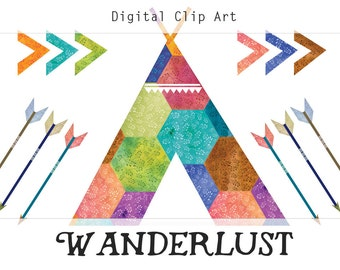 Wanderlust Digital Collage Sheet, Teepee Clipart, Arrow Clip Art, Instant Digital Download, Indian Clipart, Tribal Clipart