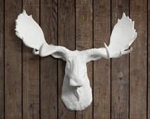 The Alberta in White - Faux Moose Head Fake Taxidermy Resin Arial Decor Decorative Ceramic Mount Plastic Wall Replica Mounted Fauxidermy Art