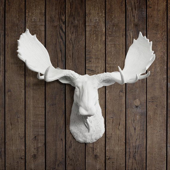 The alberta white faux moose head wall mount by wall charmers - Fake moose head mount ...