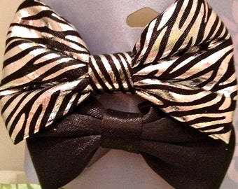 Zebra and Black Bow Hair Clips Free Shipping