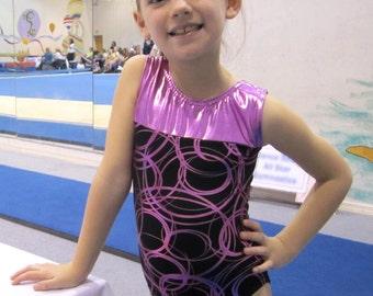 Gymnastics Girls Leotard - metallic circular design  - New Youth sleeveless Leo - 9 sizes available