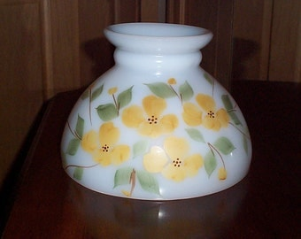 """Vintage White Milk Glass Lamp Shade Hurricane GWTW Replacement Table or Hanging Light Globe with Yellow Flowers 8"""" Fitter"""